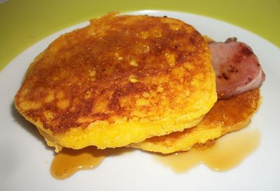 Sweet corn fritters bacon and maple