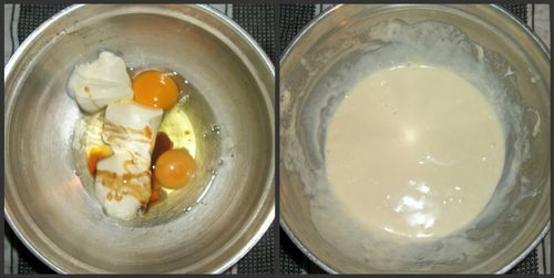 Mixing eggs and cream