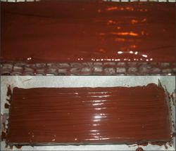 Chocolate and then cherry ripe stripes