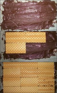 Laying the wafers on chocolate