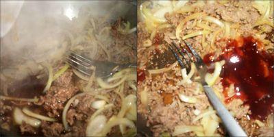Adding rice wine and sauce