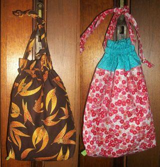 Two drawstring bags