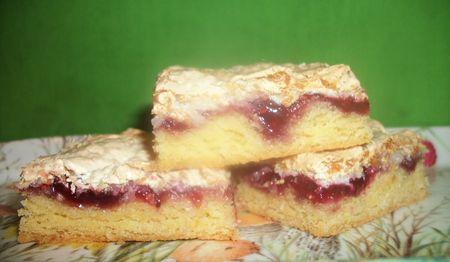 Raspberry coconut meringue slice