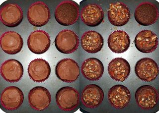 Frosting and sugared pecans