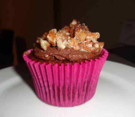 Sticky date cupcake, ganache, sugared pecans