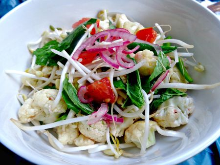 Marinated cauliflower and sprout salad