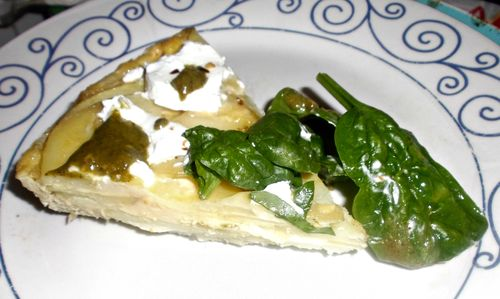 Potato fritatta and goats cheese