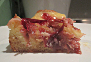 Rhubarb cream cheeseblondie slice