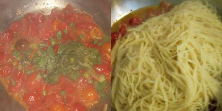 Add pasta and basil