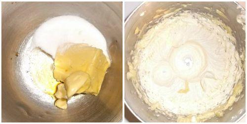 Butter, vanilla and sugar creamed