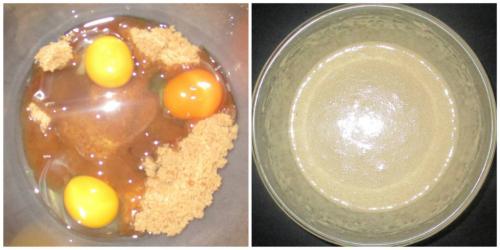 Beat eggs and sugar