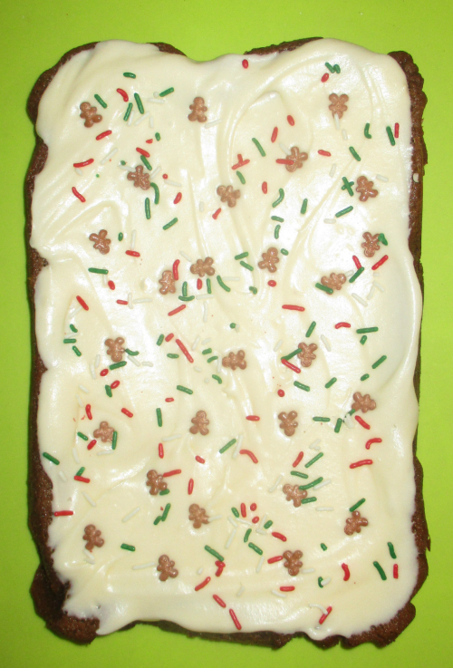 Frosted gingerbread slab