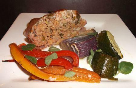 Meatloaf and vegetables