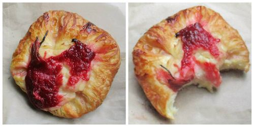 Rhubarb and custard pastries