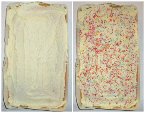Vanilla cake iced and sprinkled