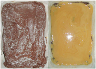 Brownie base and caramel