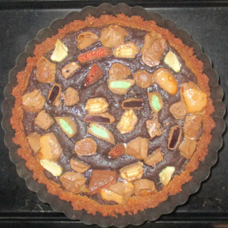Over the top chunky choc brownie tart