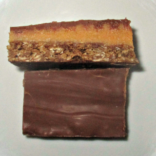 Chocolate caramel anzac slice