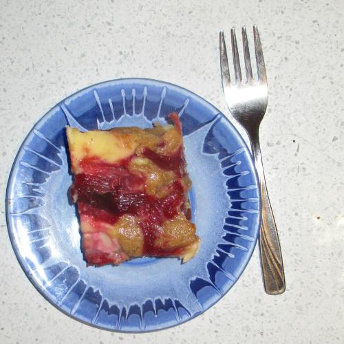 Rhubarb blondie cream cheese slice